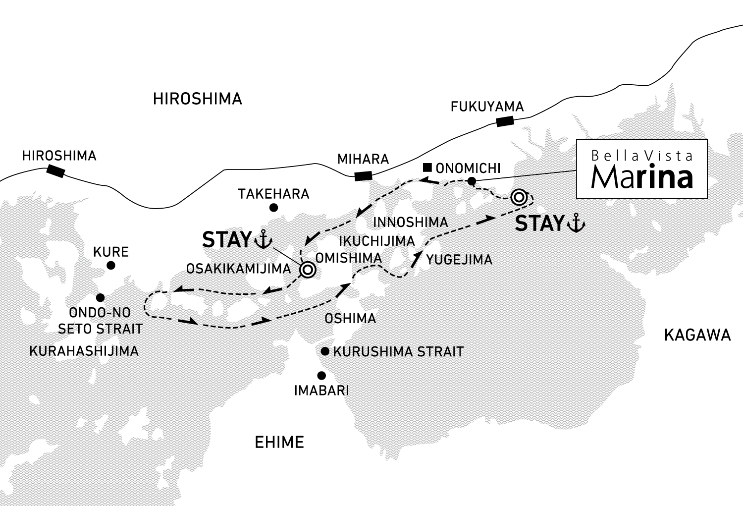 A three-day voyage to discover the history of Japanese kaizoku pirates and local culinary culture 2 nights / anchor offshore at Omishima and Tomonoura