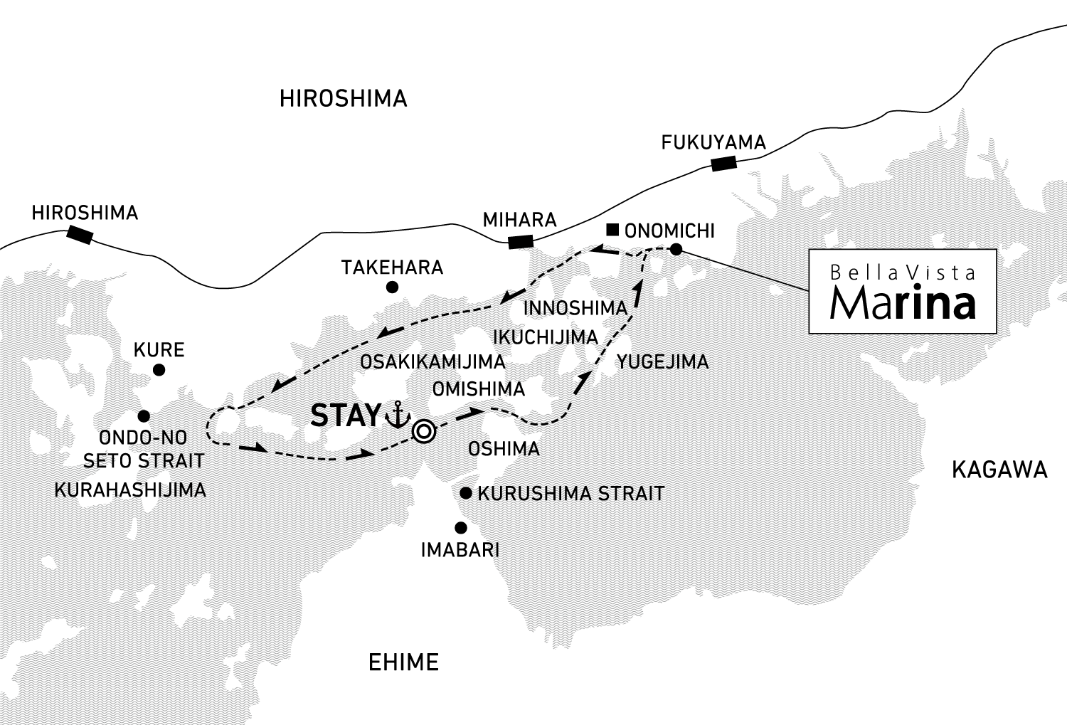 A two-day voyage to cruise the Seto Inland Sea 1 night / anchor offshore at Omishima