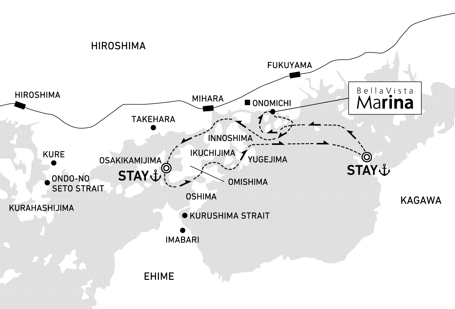 A three-day voyage through central Setouchi to enjoy the dynamic currents and scenery of the Inland Sea 2 nights / anchor offshore at Omishima and Takuma Bay