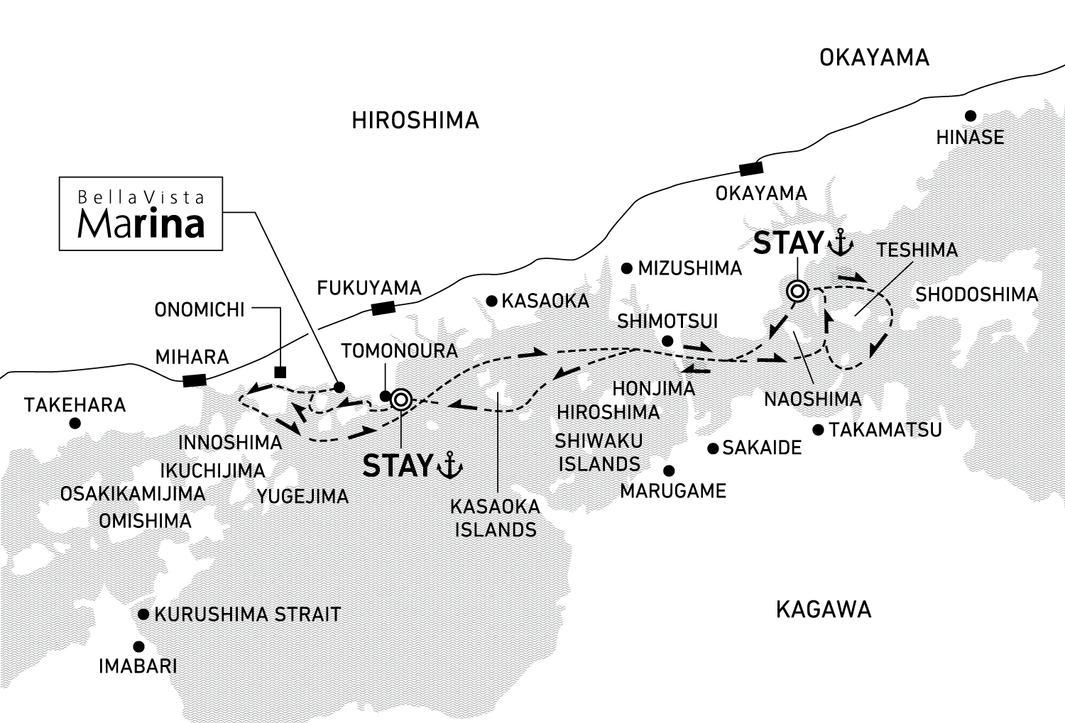 A three-day voyage to discover natural beauty and the bounty of islands 2 nights / anchor offshore at Tamano and Tomonoura