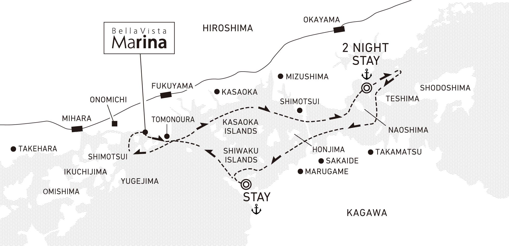A four-day voyage to enjoy Setouchi art island-hopping 3 nights / anchor offshore at Tamano, Tamano and Takuma Bay (For 2022)