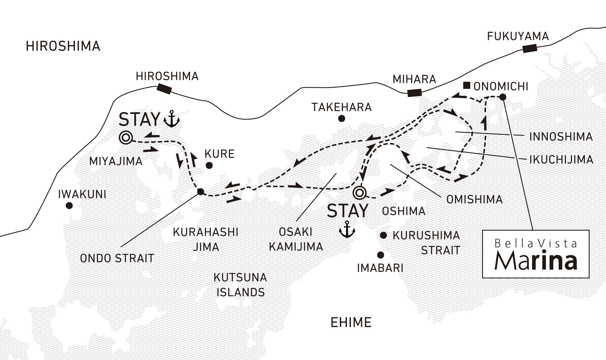 A three-day voyage to delight in Setouchi drifting 2 nights / anchor offshore at Miyajima and Omishima
