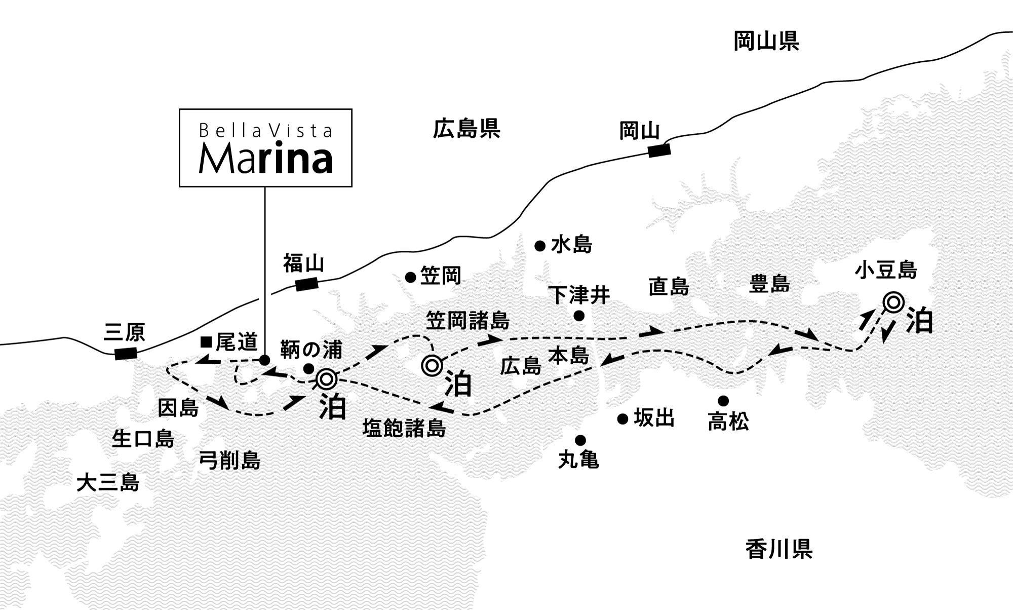豊かな島々の新旧の魅力に触れる 北木島沖・小豆島沖・鞆の浦沖錨泊4日間