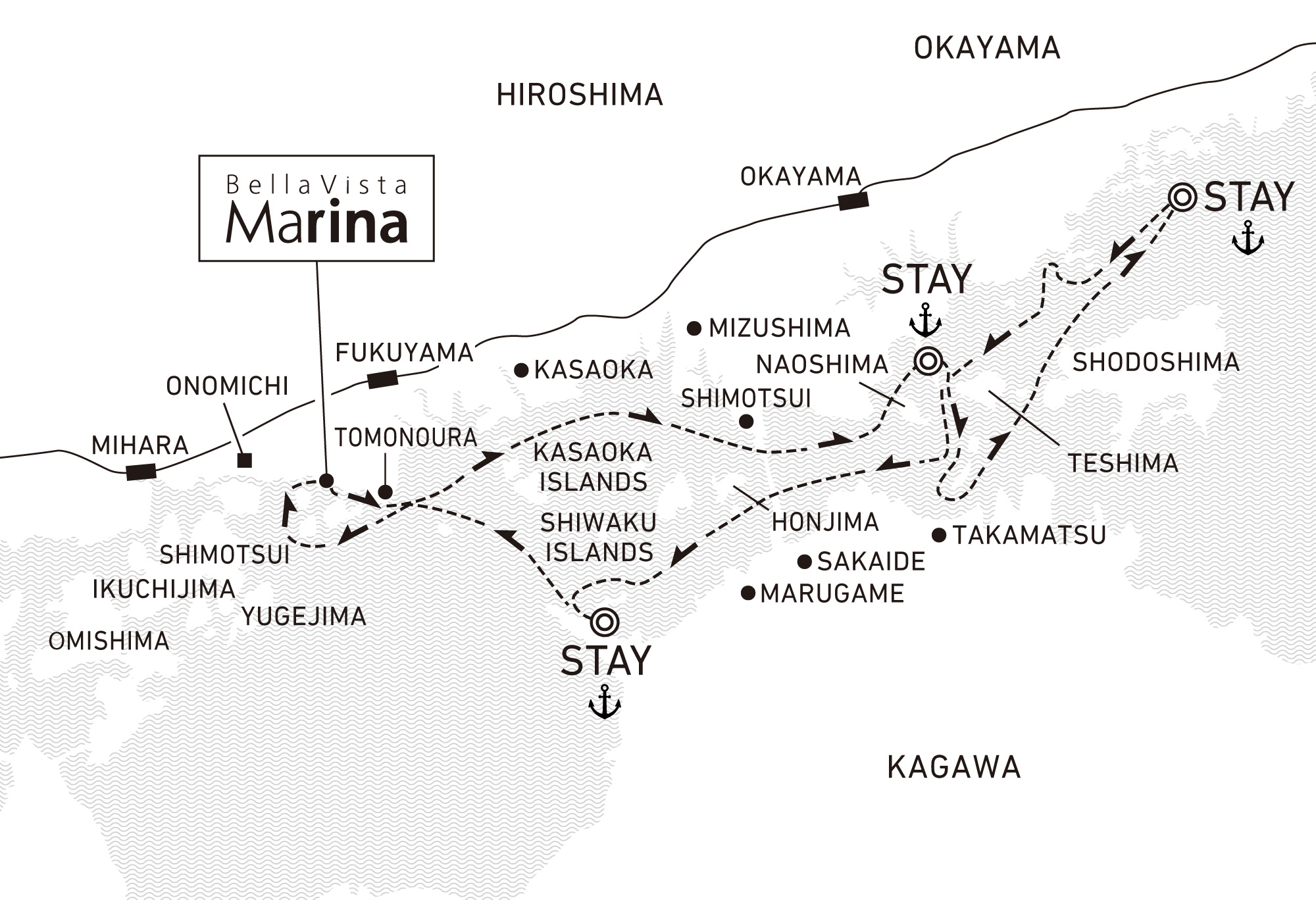 A four-day voyage to experience traditional Setouchi culture and craftsmanship 3 nights / anchor offshore at Tamano, Hinase and Tomonoura (For 2022)