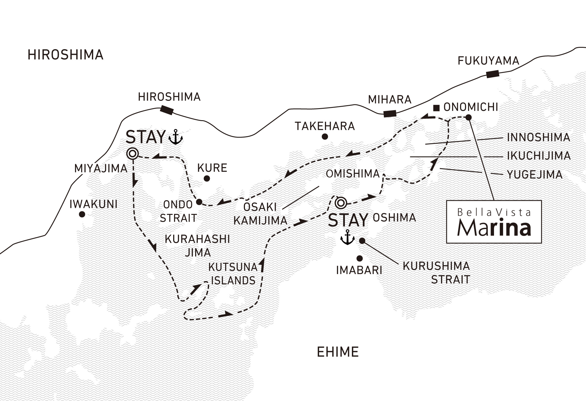 A three-day voyage to follow the sea routes of Setouchi and enjoy old heritage 2 nights / anchor offshore at Miyajima and Omishima