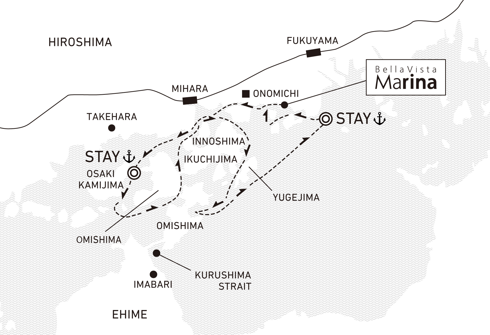 A three-day voyage to visit old pirates sites and navigate their routes 2 nights / anchor offshore at Omishima and Tomonoura